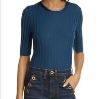 Veronica Beard Delilah Sweater M Blue Ribbed Metallic Trim Wool Pullover $375