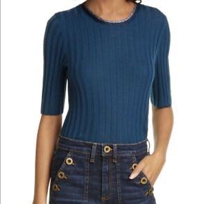 Veronica Beard Delilah Sweater M Blue Ribbed Metallic Trim Wool Pullover $375