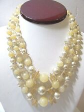 VINTAGE TRIPLE STRAND FAUX PEARL PEACH ROUND CLEAR AND CHIP BEADS JAPAN FASHION