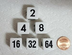 Backgammon Doubling Cubes - 16mm - Opaque White with Black Numbers! Three Pairs!