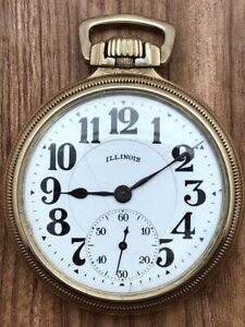 1923 Illinois Bunn Special Railroad Pocket Watch 21 Jewels 6 Positn Gold Filled