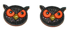 GLITTERY BLACK & ORANGE HALLOWEEN OWL STUD EARRINGS (H259)