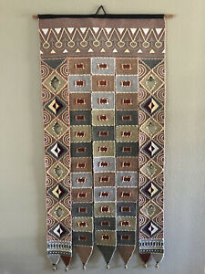 Southwestern Geometric Pink Blue Woven Fabric Wall Tapestry Hanging Door Bells