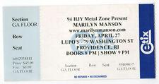 Marilyn Manson Concert Ticket Stub Tour Lupo's Providence Rhode Island Ri