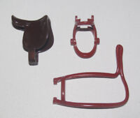 Playmobil Lot Accessoires Cheval Equitation Cowboy Selle + 2 Harnais Marron NEW