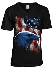 USA Bald Eagle Red White And Blue Stripes American Pride Mens V-neck T-shirt