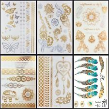 6 PCS/ lot Hot Flash Metallic Waterproof Temporary Tattoo Gold for Luxury Women