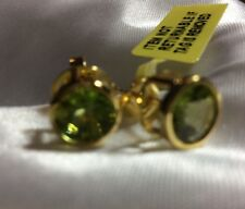 3 Ct, AA Peridot Round Stud Earrings In Gold Overlay Sterling Silver