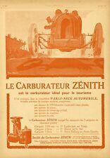 """""""CARBURATEUR ZENITH"""" Annonce originale entoilée L'ILLUSTRATION 1925 (Géo HAM)"""