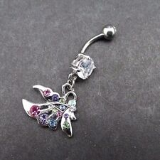 Cz Gems Surgical Steel 316L 14g Butterfly Dangle Belly Button Ring Multi Color