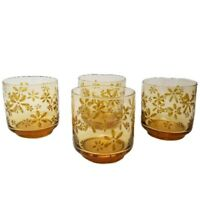 Vintage Amber Juice Glasses with Raise Daisys Stackable Set of 4