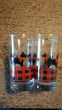 Scottish Terrier Tumbler Drinking Glass Fitz Scottie Dog Plaid 5 1/2""
