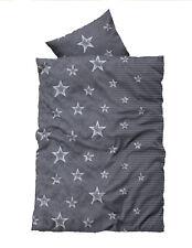 4 teilig Flausch Bettwäsche 135x200 cm Sterne Stars grau silber Thermofleece