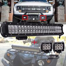 20Inch Led Work Light Bar 126W + Harness Kit+18W Pods Offroad Bumper GMC Bumper