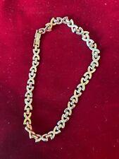 """Bracelet 10"""" Fashion Statement Jewelry Gold Tone X Links Ankle"""