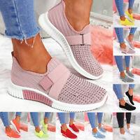 Damen Sportschuhe Strass Laufschuhe Strick Gym Slip On Sneaker Schuhe Turnschuhe