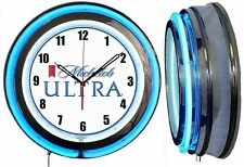 "Michelob Ultra Beer 19"" Double Neon Clock BLUE Neon Man Cave Bar"