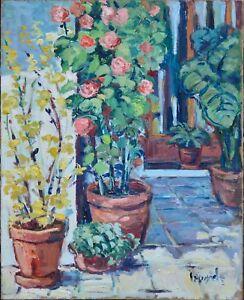 Tableau ancien, huile, Angel Garcia Lapuyade 1931-2003.