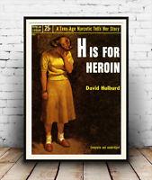 BOOK COVER H FOR HEROIN DRUG ADDICTION HULBURD USA ART PRINT POSTER BB7688