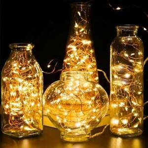 30-100 LED Lights Xmas In/Outdoor Fairy Star Cork String Light Battery🔥Operated