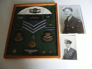 WW2 RAFVR  Bullion Badges, Lapel Badges-Stripes-Buttons Etc Framed (Flt Lt Read)
