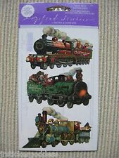 Gifted Line Vintage Scrapbook Stickers Christmas Trains Locomotive John Grossman