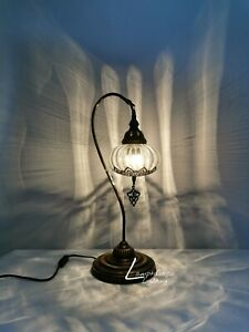 Luxurious Large Bohemian Turkish Moroccan Style Blown Desk Table Lamp 55CM Tall