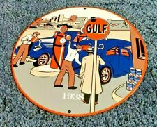 VINTAGE GULF GASOLINE PORCELAIN GAS & OIL SERVICE STATION PUMP PLATE SIGN