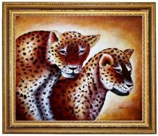 Gepard Ölbild, handgemaltes Ölgemälde, Großkatzen Gemälde  F: 50x60cm
