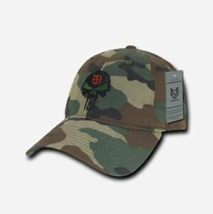 US Rapdom Punisher Craft Tactical Skull Relaxed Cap Mütze woodland camouflage