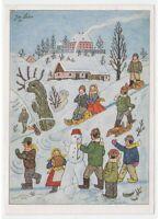 1957 Jos. Lada J. Lady Tarjeta Postal Navidad Niños Juegos Nieve Vintage Vanoce
