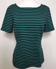 BANANA REPUBLIC Green Black Striped Short Sleeve Stretch Fitted Business Top 6 8