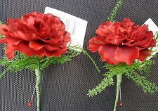 2 Burgundy Red Artificial Carnation  Button Holes with Pearl pin and fern.