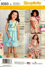 Simplicity Sewing Pattern 8063 Childs Dresses and Purses 3-8 NEW