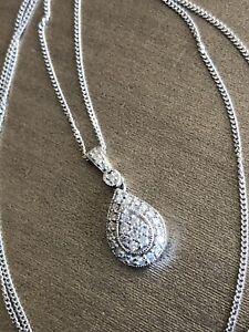 Ernest Jones 9ct White Gold Diamond Necklace 0.25ct Teardrop Halo Cluster