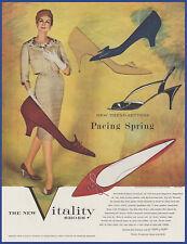 Vintage 1959 VITALITY Shoes Women's Fashion Ephemera 50's Print Ad