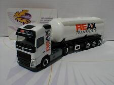 """HERPA 306881 # volvo FH Gl. silo-semi-remorque """"reax transports"""" en blanc 1:87"""