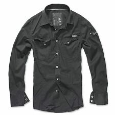Brandit - SlimFit Camiseta Negro Camisa Outdoor Camuflaje