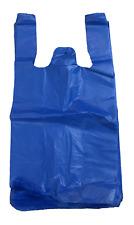 100 Blue Plastic T Shirt Retail Shopping Grocery Bags Handles Small 6x3x13