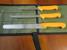 SWIBO 3 KNIFE SET SKINNER /FILLET/ BOAT SET WITH HEAVY AUSSIE CANVAS WRAP SWISS