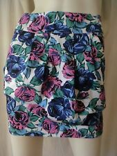RED BERRY White Floral Pleated Skirt Sz S BUY Any 5 Items = Free Post