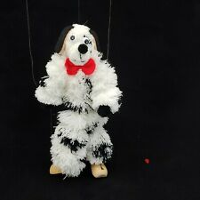 Marionette Puppet Yarn Plush Dog White and Black Wooden Feet