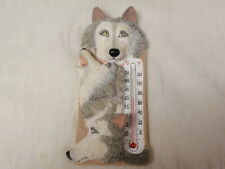 INDOOR / OUTDOOR RESIN WOLVES WALL HANGING THERMOMETER