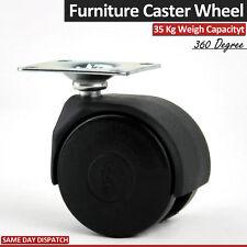 4 RULLI TWIN Caster Ricambio sedia rotelle ruote di plastica PIASTRA GIREVOLE 50 MM