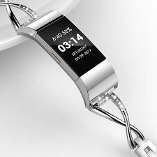 For Fitbit Charge 2 Bracelet Band Silver Metal Rhinestone Adjustable Bangle