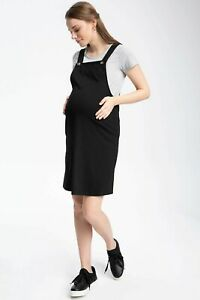 Brand New Maternity Pinafore Dress Black Knee Length Size Medium 10