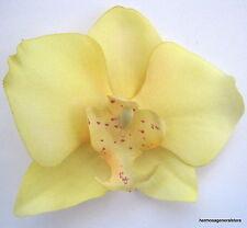 "3 1/4"" Lemon Yellow Orchid Silk Flower Hair Clip,Dance,Wedding,Prom,Bridal"