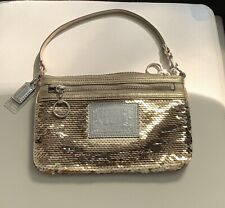 Coach Poppy Wristlet Wallet Gold Sequence Bag NEW CONDITION!
