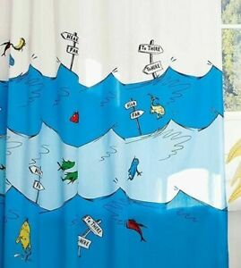 Dr Seuss Shower Curtain One Fish Two Fish Red Fish Blue Fish Kids Bathroom Decor
