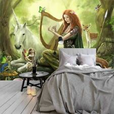Beauty Playing Harp Full Wall Mural Photo Wallpaper Printing 3D Decor Kid Home